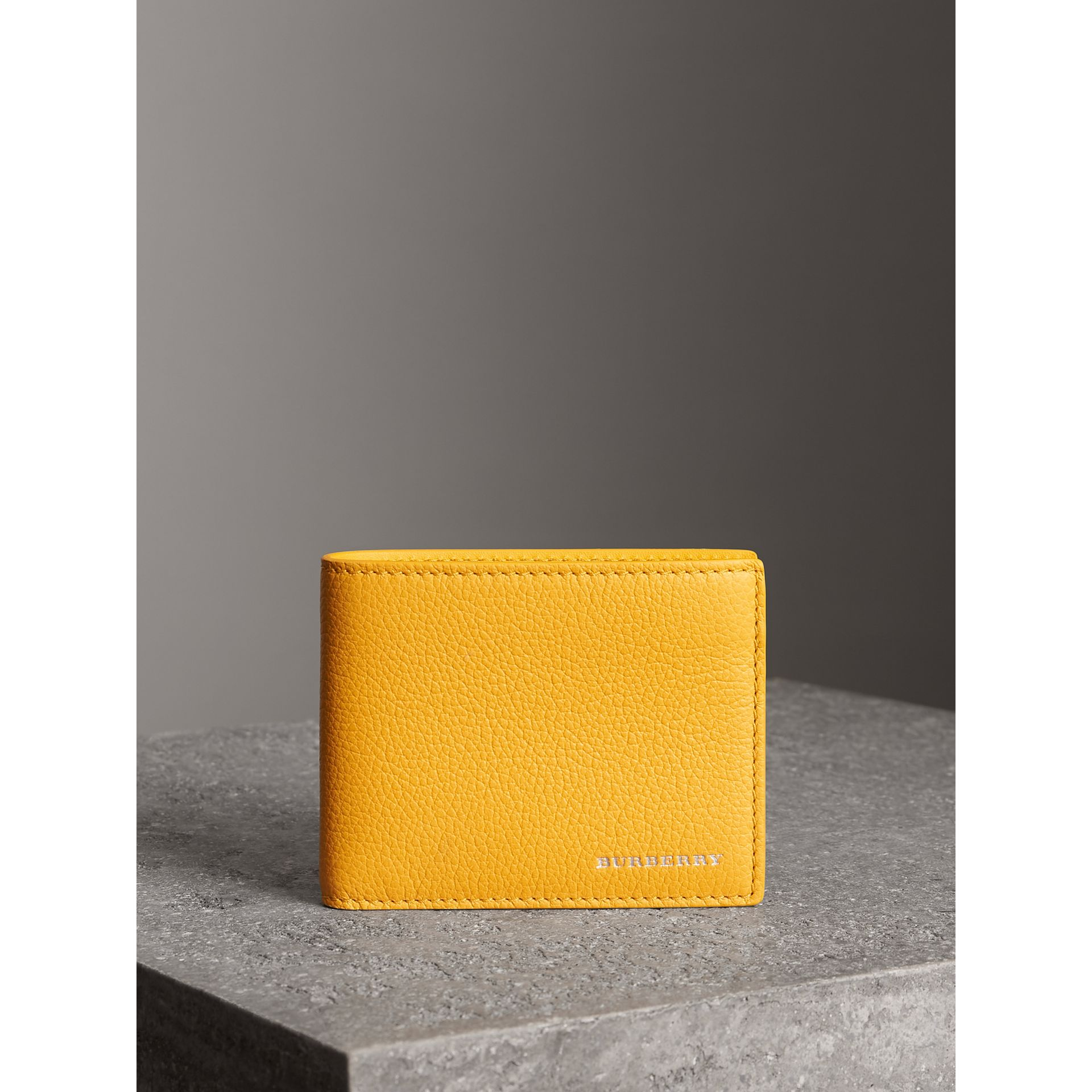 Grainy Leather Bifold Wallet in Bright Ochre Yellow - Men | Burberry Australia - gallery image 4