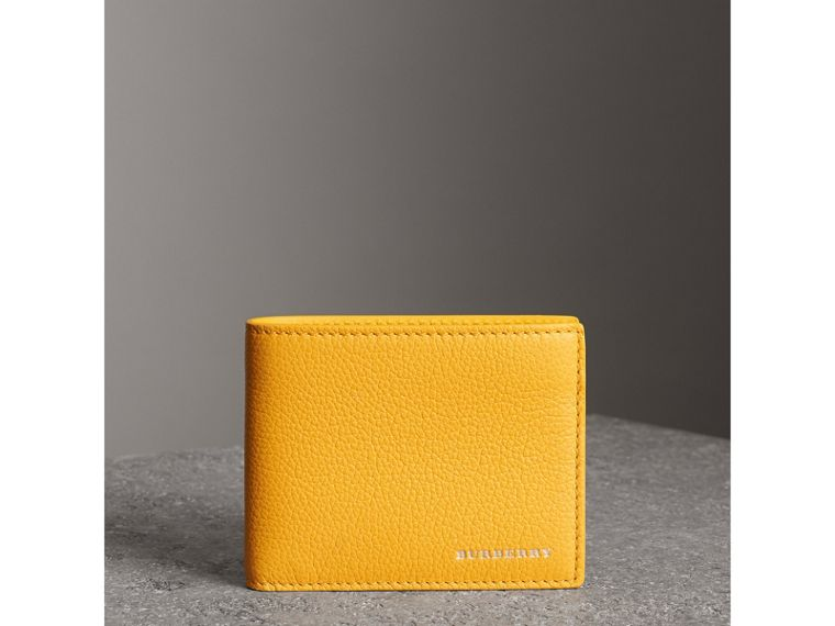 Grainy Leather Bifold Wallet in Bright Ochre Yellow - Men | Burberry - cell image 4