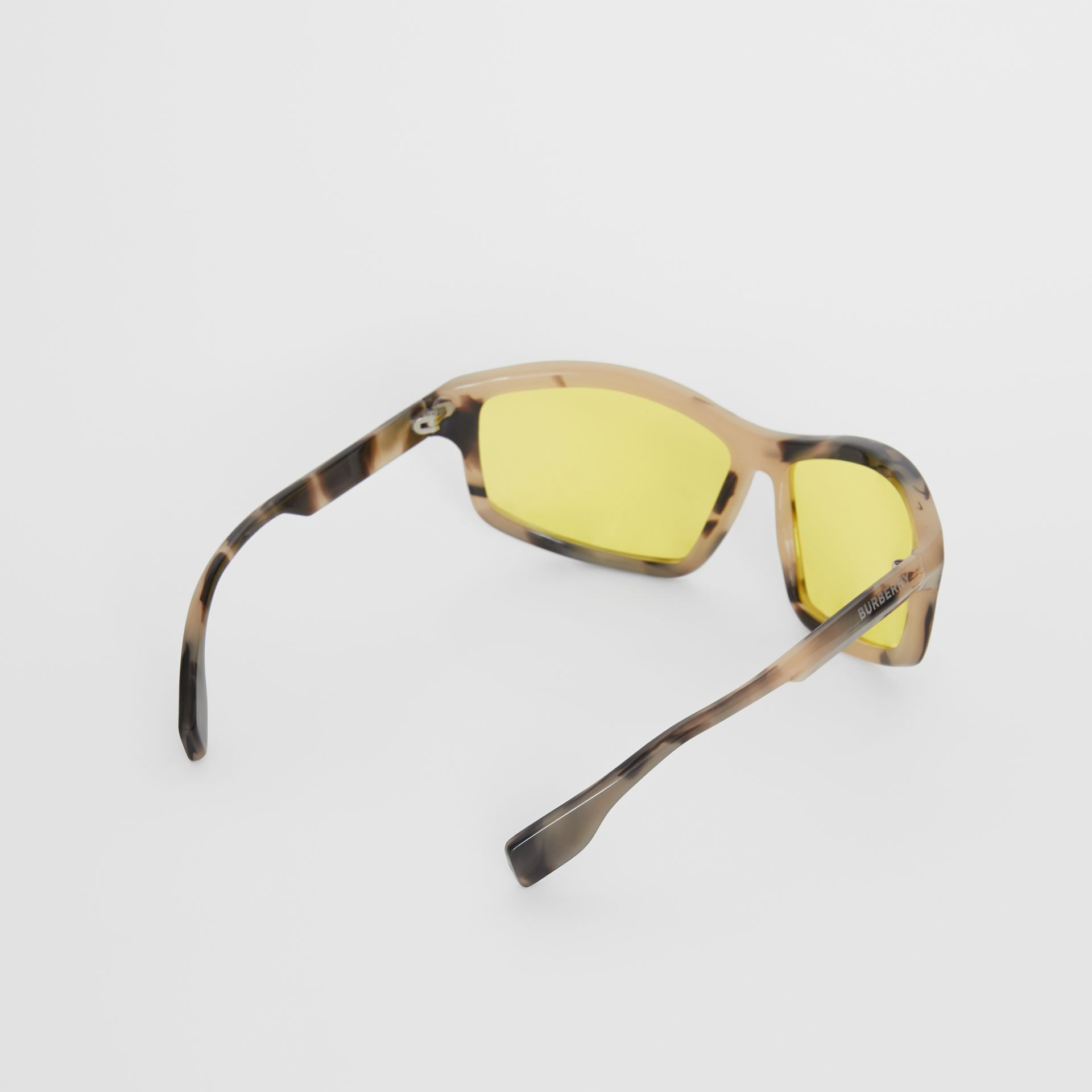 Wrap Frame Sunglasses in Yellow - Men | Burberry - gallery image 4