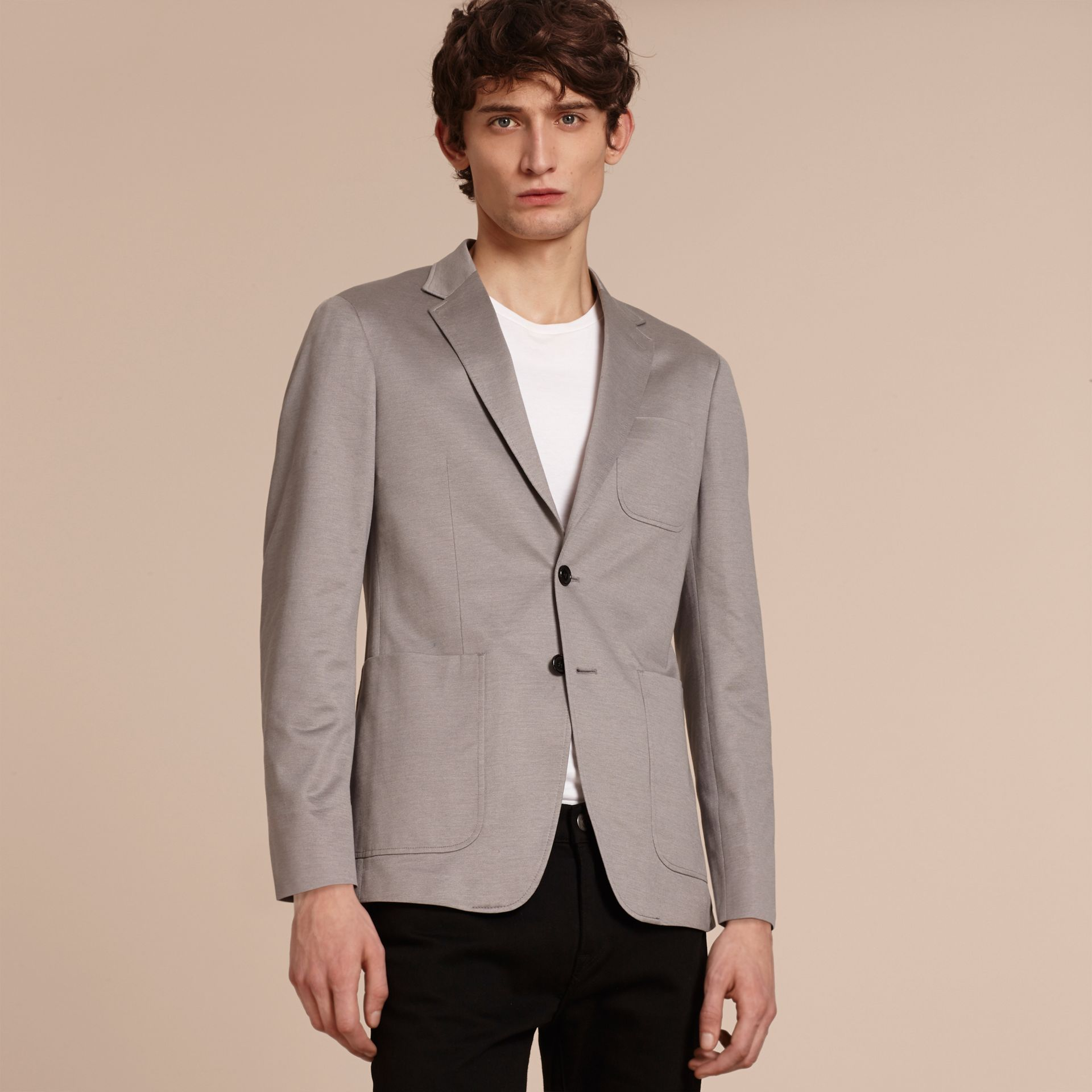 Mid grey melange Slim Fit Tailored Cotton Jersey Jacket Mid Grey Melange - gallery image 6