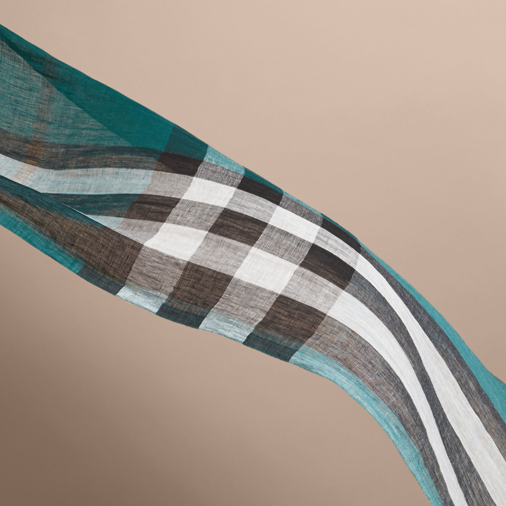 Lightweight Check Linen Scarf in Dark Teal | Burberry - gallery image 4