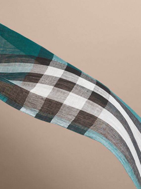 Lightweight Check Linen Scarf in Dark Teal | Burberry - cell image 3