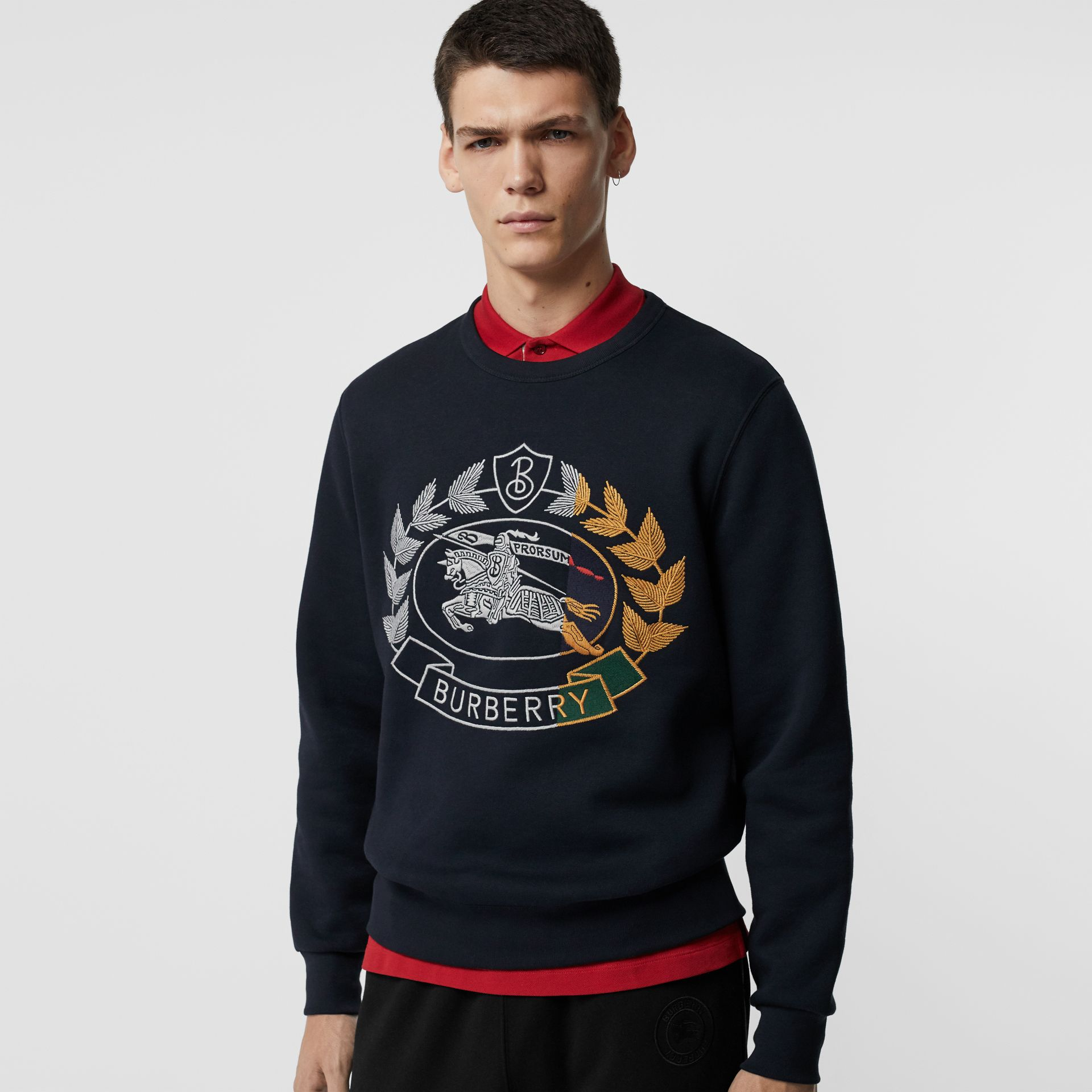 Embroidered Crest Jersey Sweatshirt in Navy - Men | Burberry Australia - gallery image 4