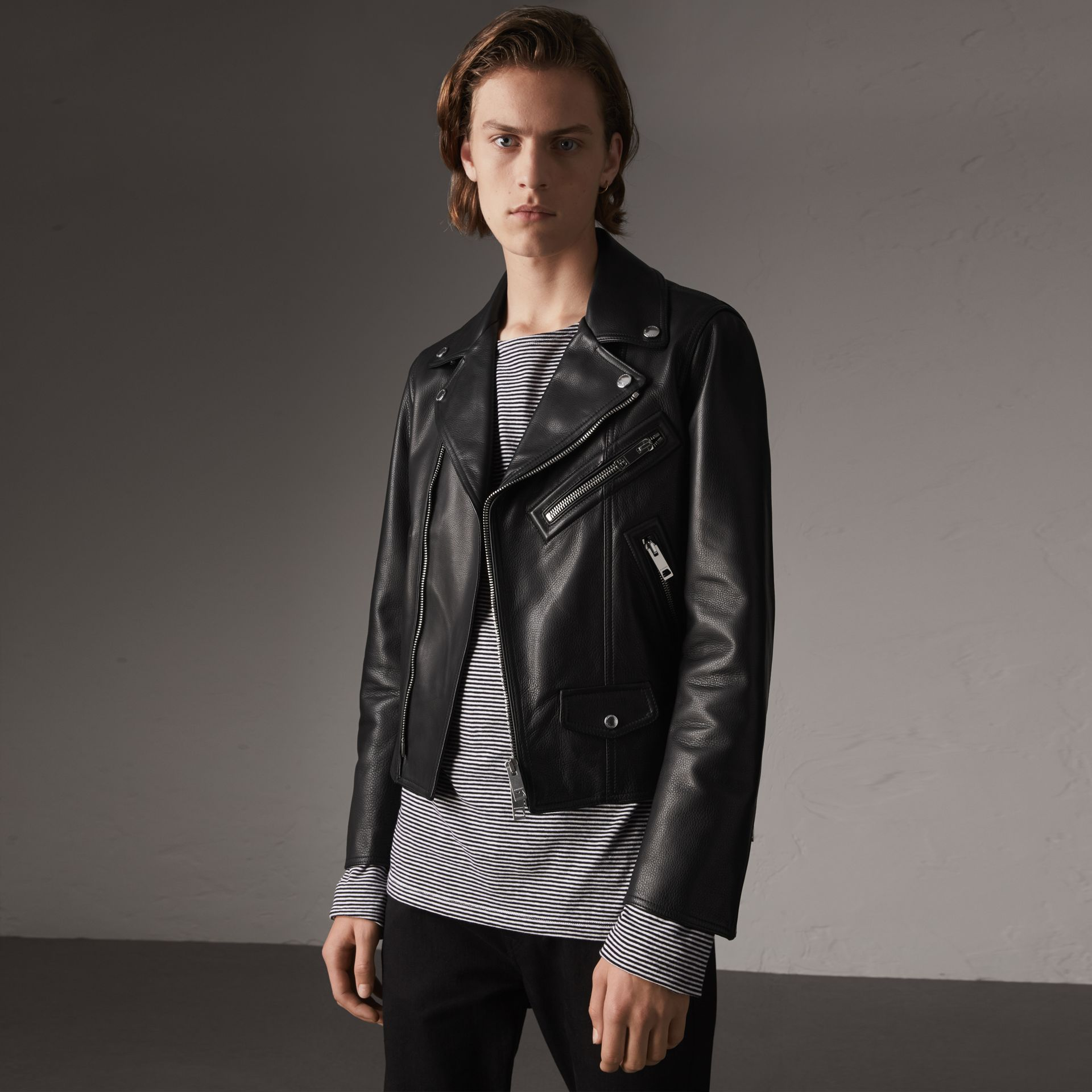 Leather Biker Jacket in Black - Men | Burberry Singapore - gallery image 0