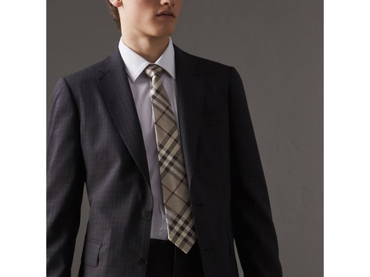 Modern Cut Check Silk Tie in Smoked Trench - Men | Burberry United States - cell image 2