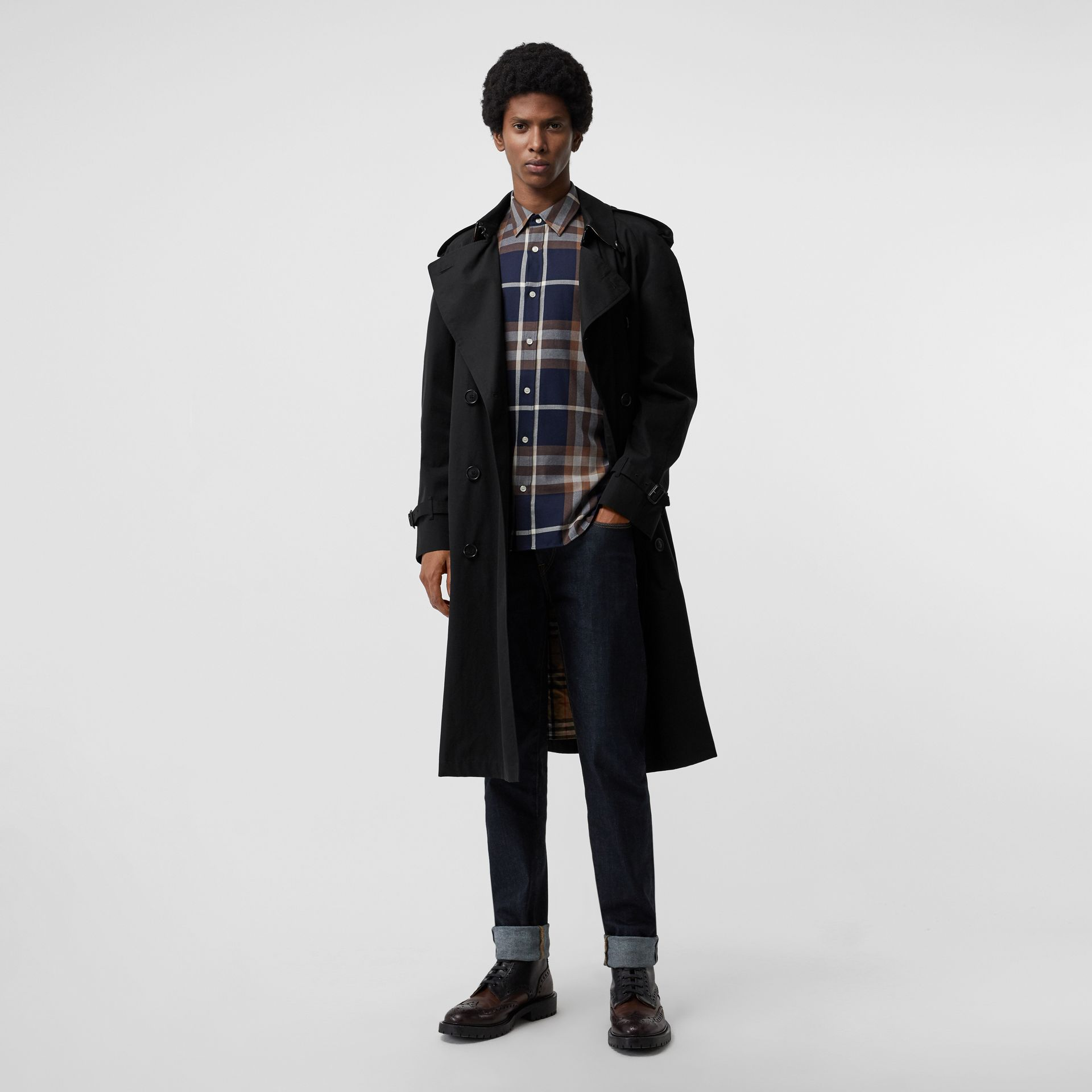 Check Cotton Flannel Shirt in Dark Navy - Men | Burberry - gallery image 4