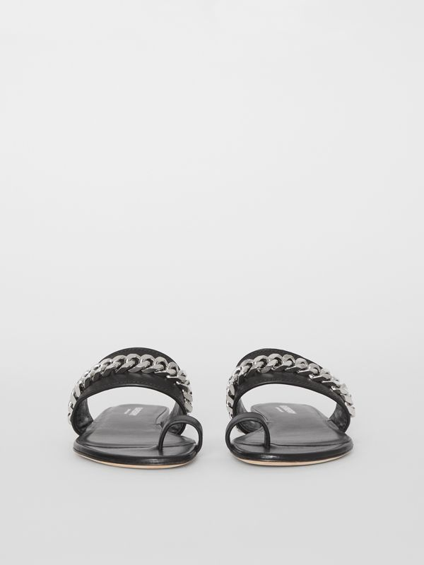 Chain Detail Leather Sandals in Black - Women | Burberry - cell image 3