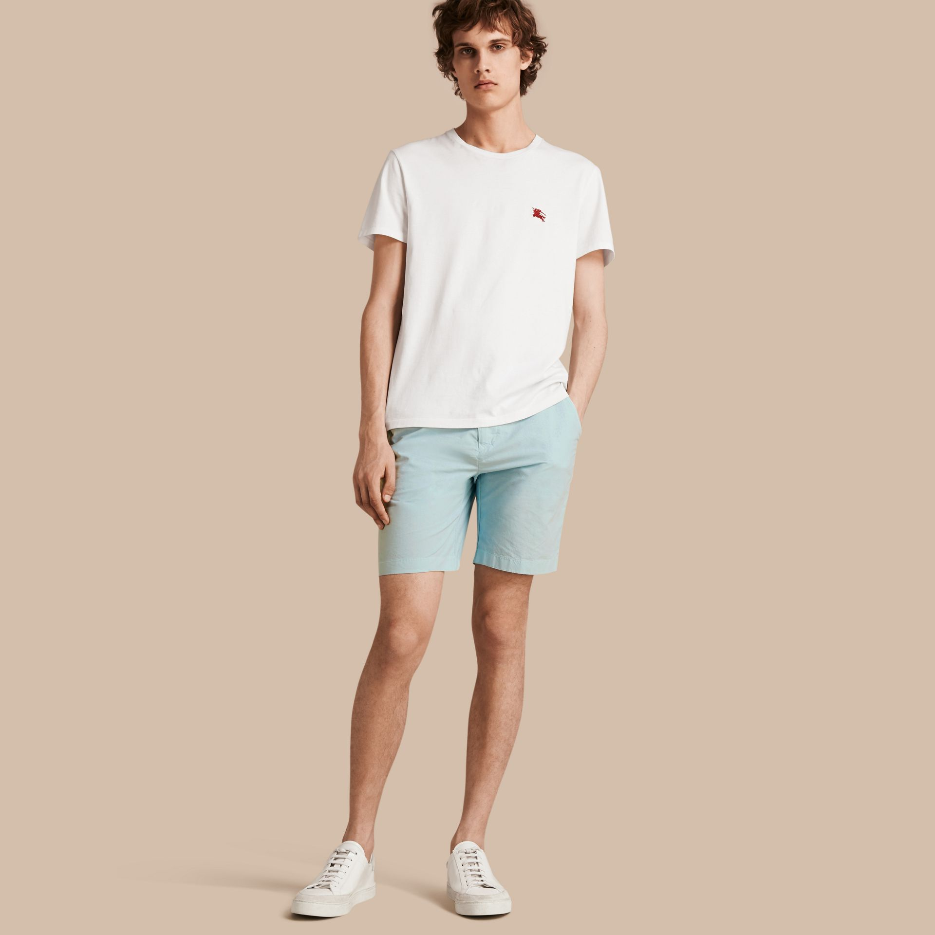 Pearl blue Cotton Poplin Chino Shorts Pearl Blue - gallery image 1