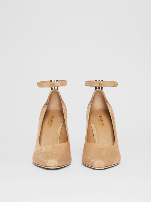 Triple Stud Stripe Detail Suede Point-toe Pumps in Tawny - Women | Burberry - cell image 3