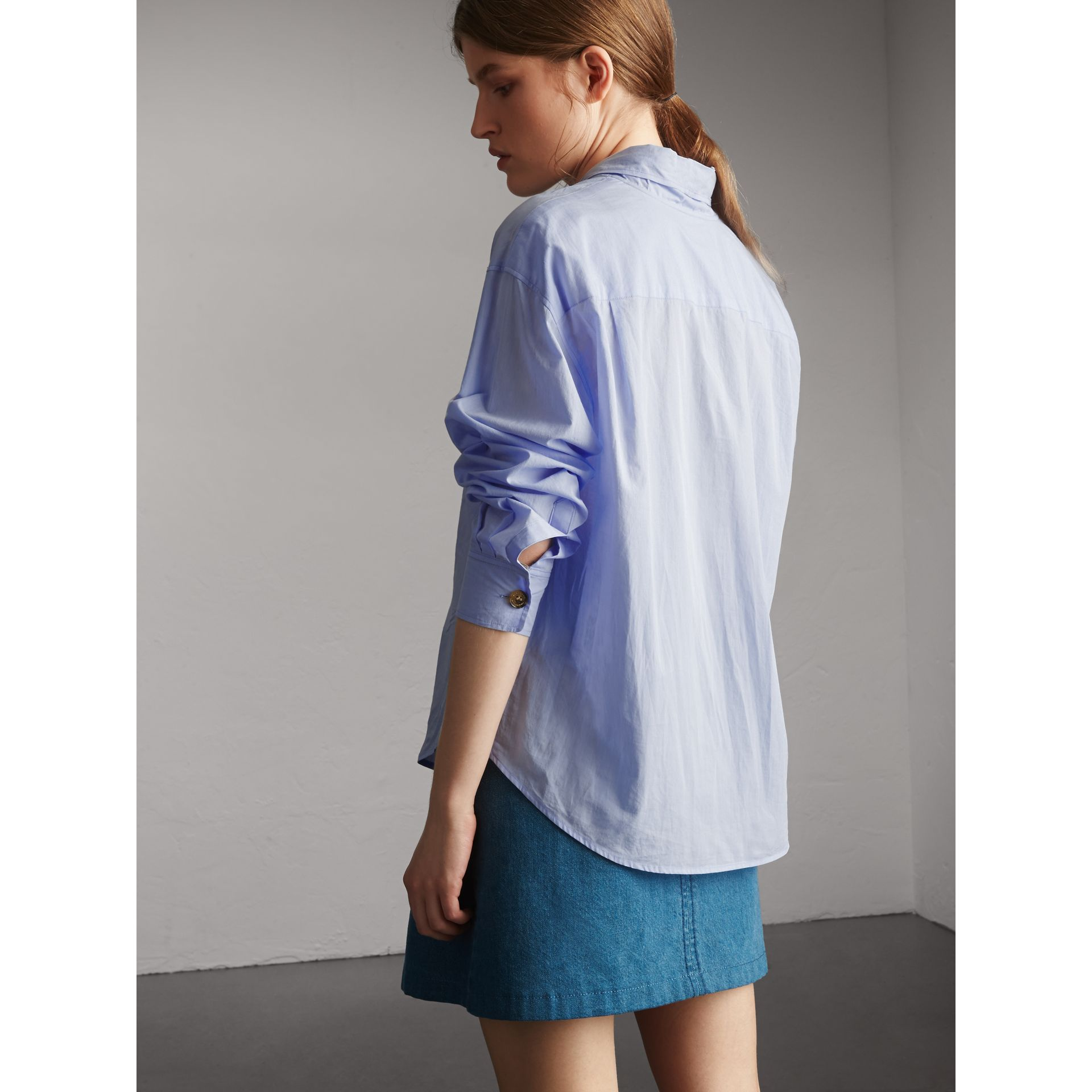 Cotton Tie Neck Shirt in Pale Blue - Women | Burberry - gallery image 3