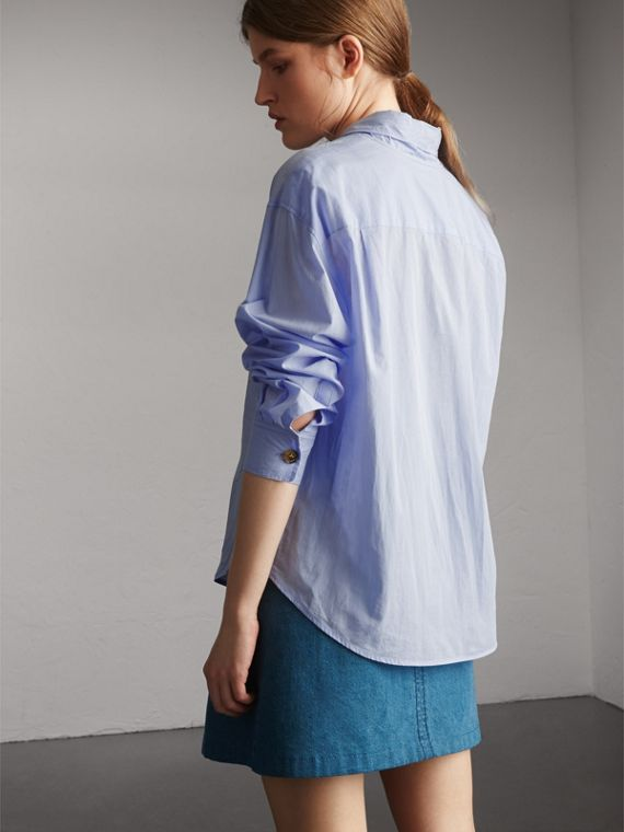 Cotton Tie Neck Shirt in Pale Blue - Women | Burberry - cell image 2