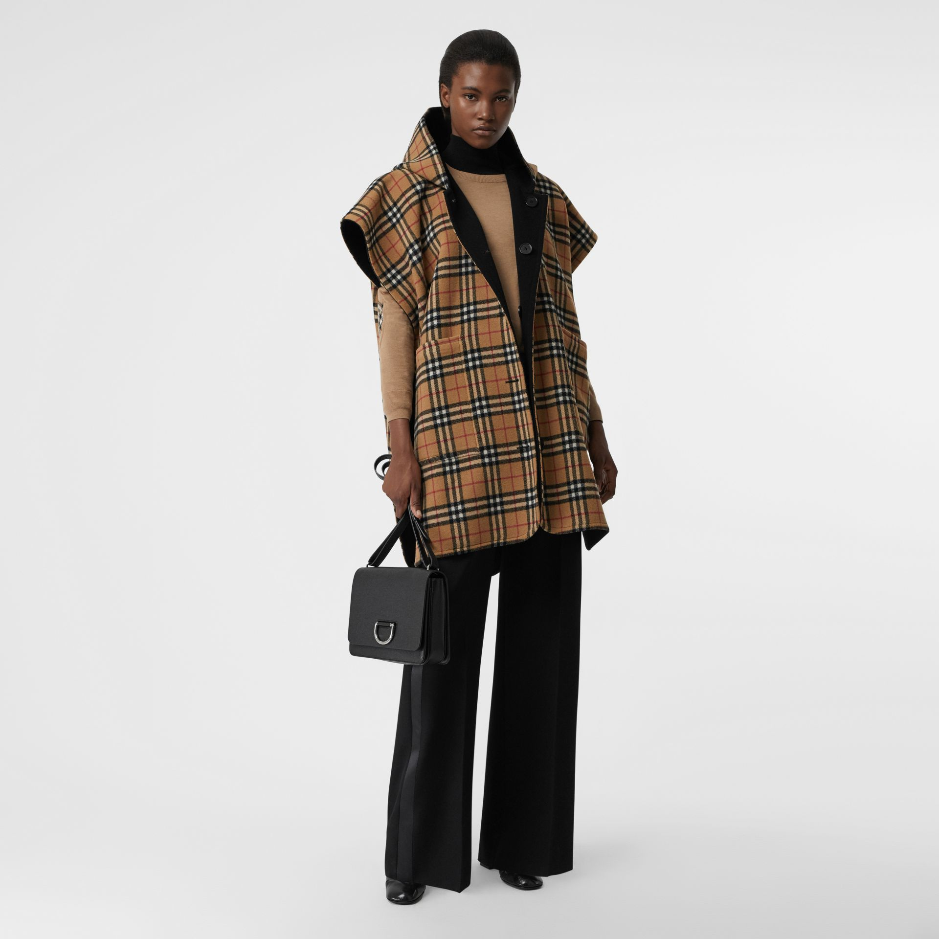 Reversible Vintage Check Hooded Poncho in Black - Women | Burberry Australia - gallery image 0