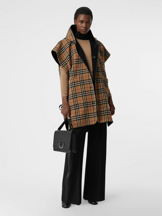 Reversible Vintage Check Hooded Poncho in Black