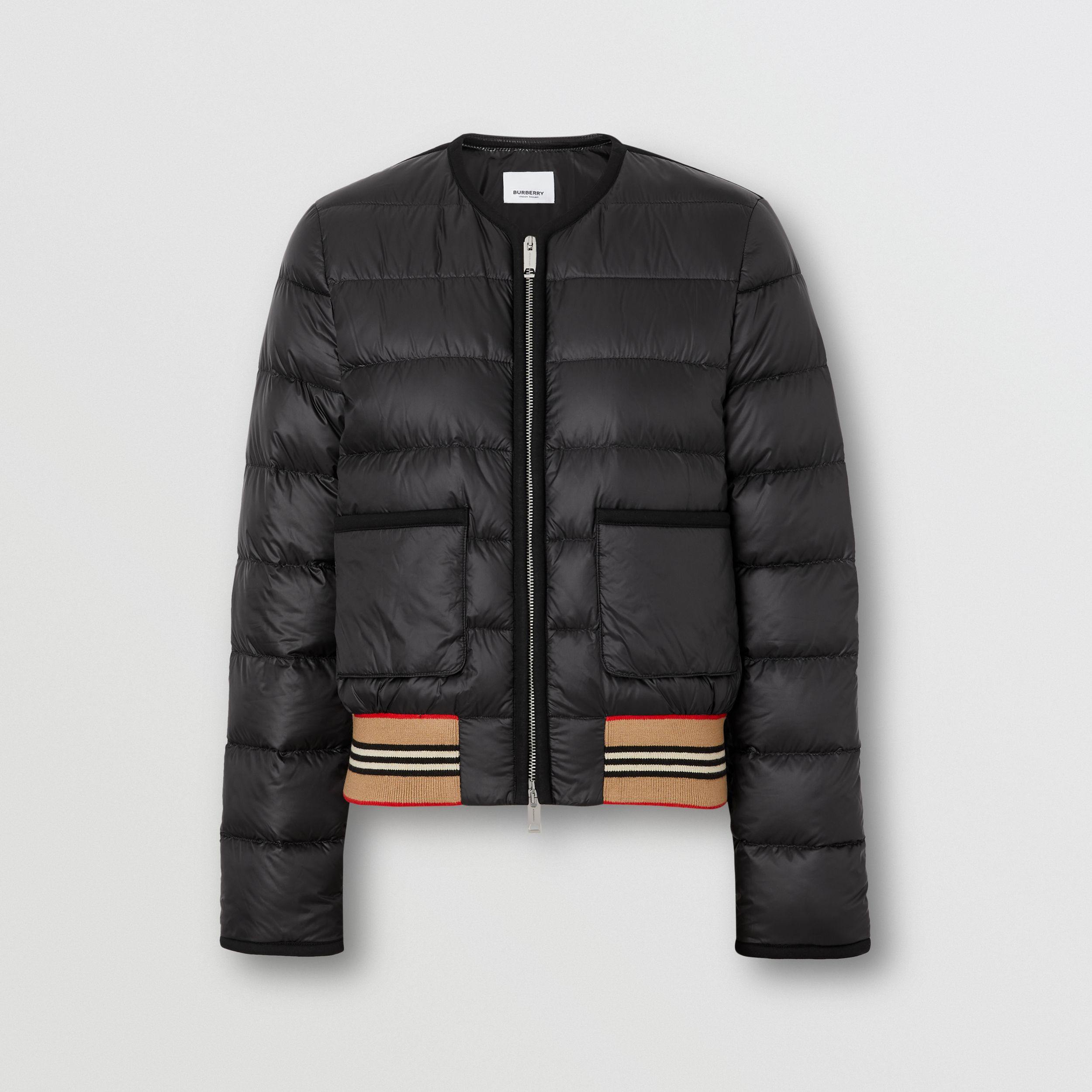 Icon Stripe Detail Down-filled Puffer Jacket in Black - Women | Burberry - 4