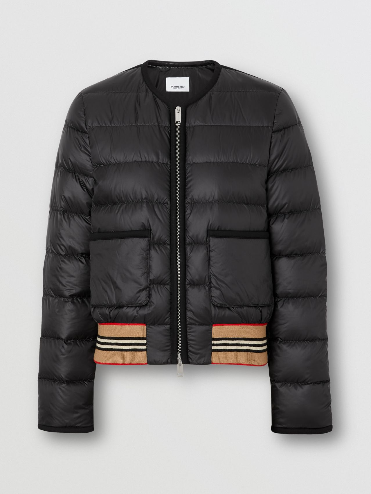 Icon Stripe Detail Down-filled Puffer Jacket in Black