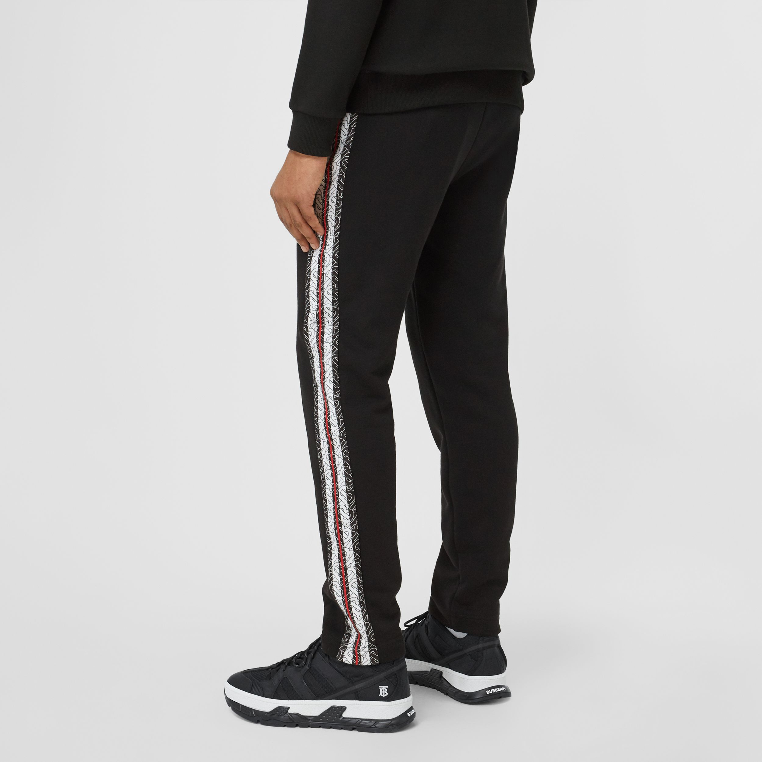 Monogram Stripe Panel Cotton Jogging Pants in Black - Men | Burberry - 3