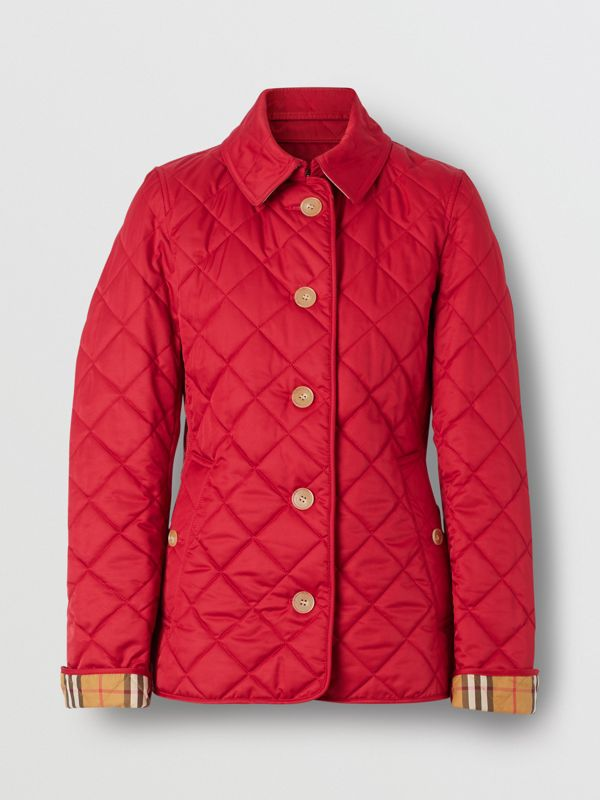 Diamond Quilted Jacket in Military Red - Women | Burberry - cell image 3