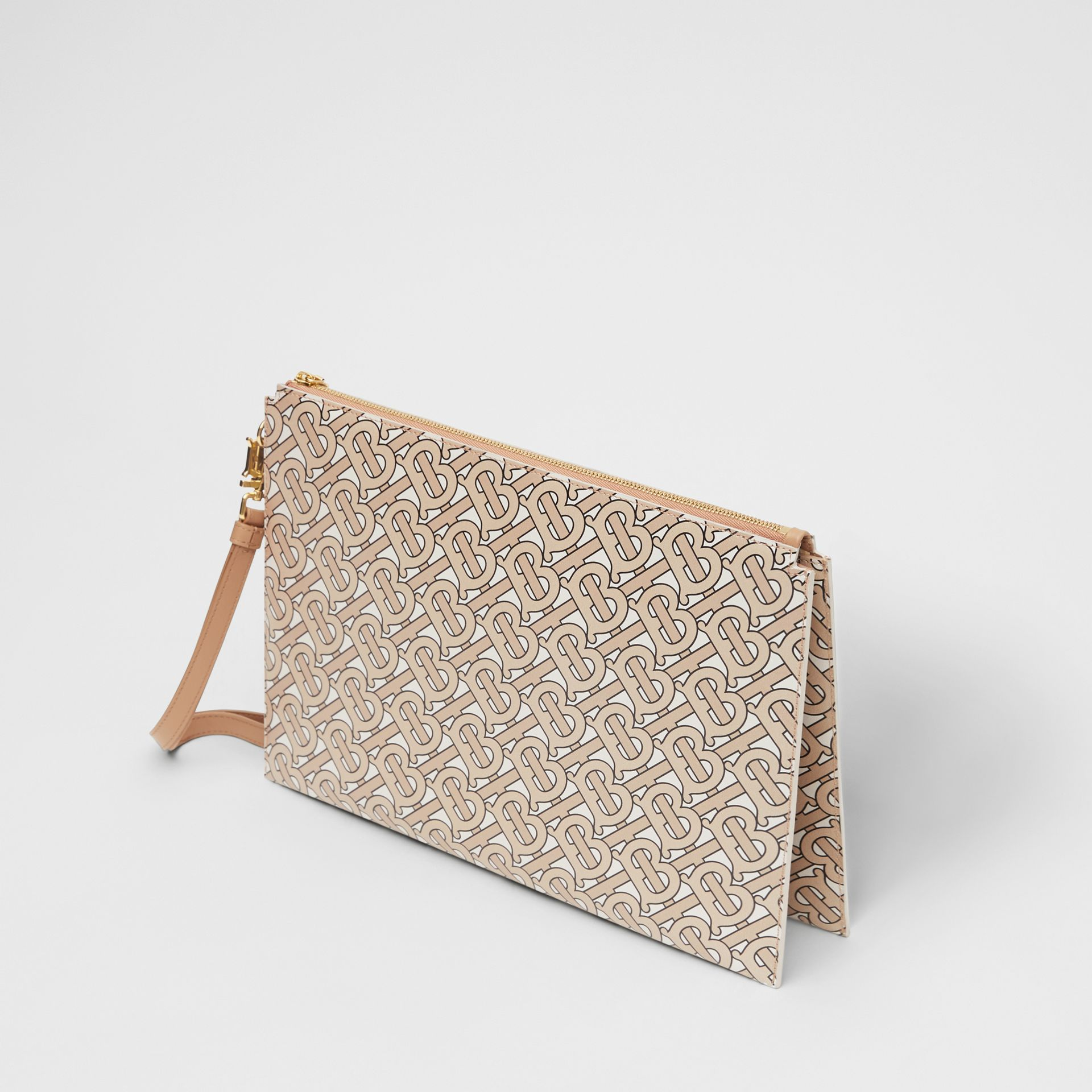 Monogram Print Leather Pouch in Beige - Women | Burberry - gallery image 3