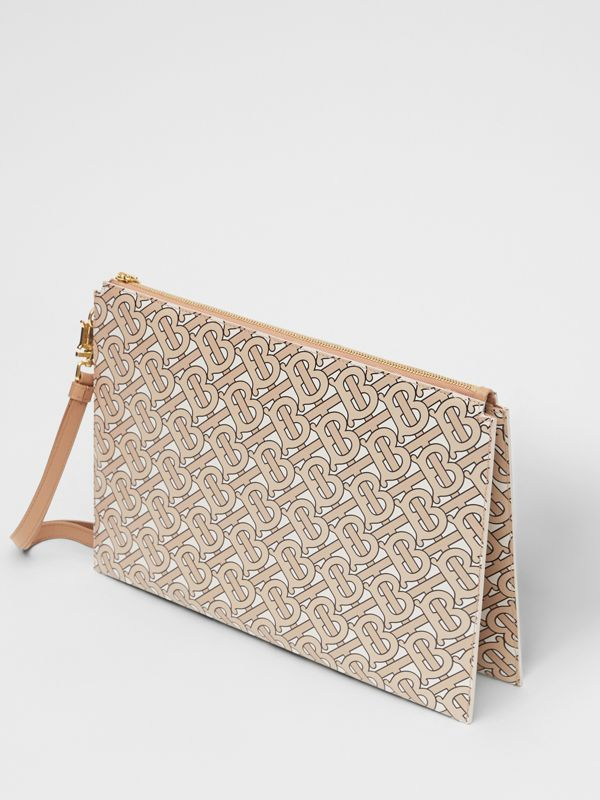 Monogram Print Leather Pouch in Beige - Women | Burberry - cell image 3