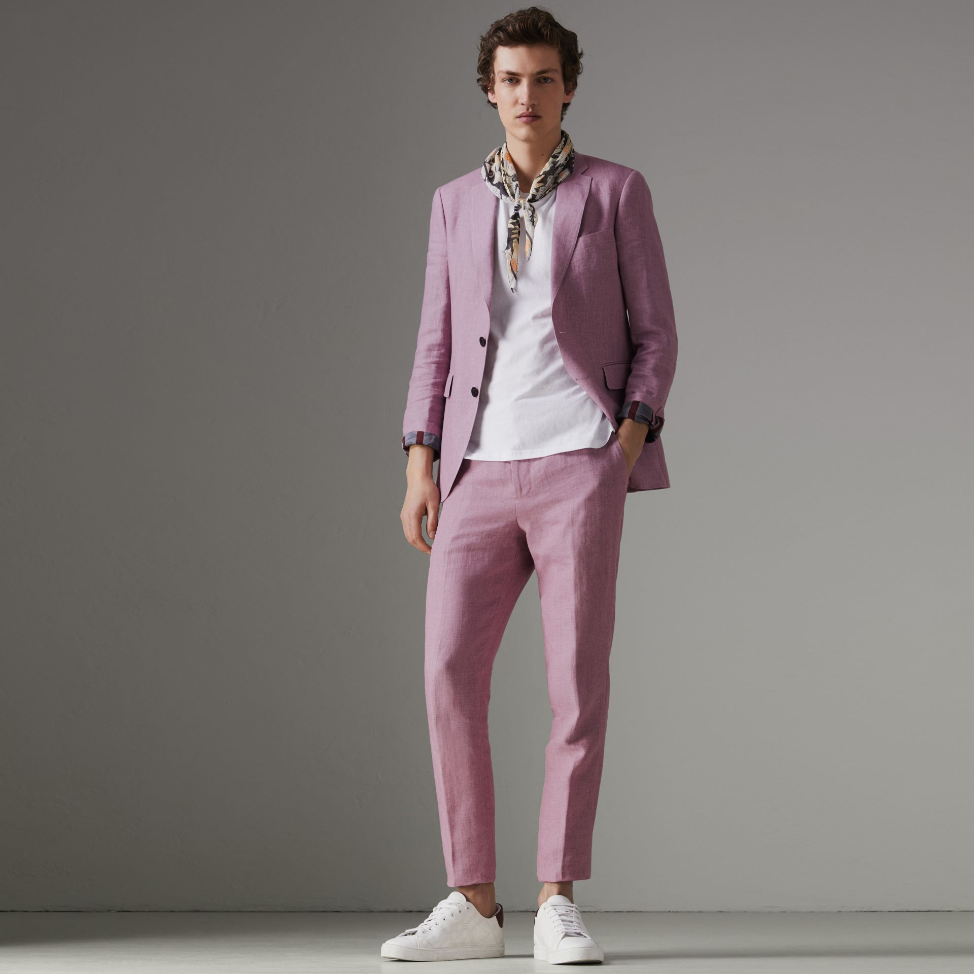 Soho Fit Linen Tailored Jacket in Pink Heather - Men | Burberry - gallery image 0