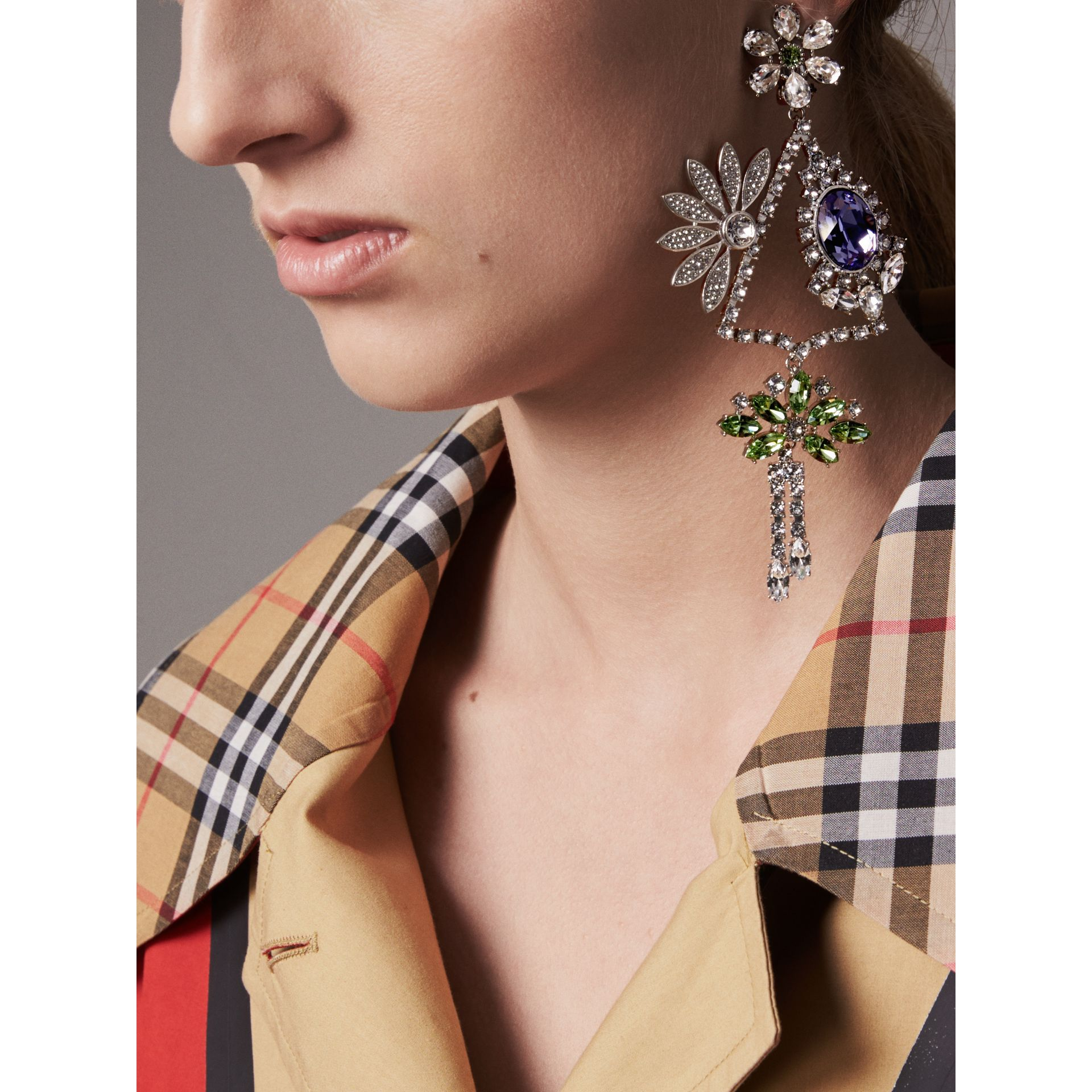 Crystal Daisy Chandelier Earring and Stud Set in Peridot Green - Women | Burberry - gallery image 3