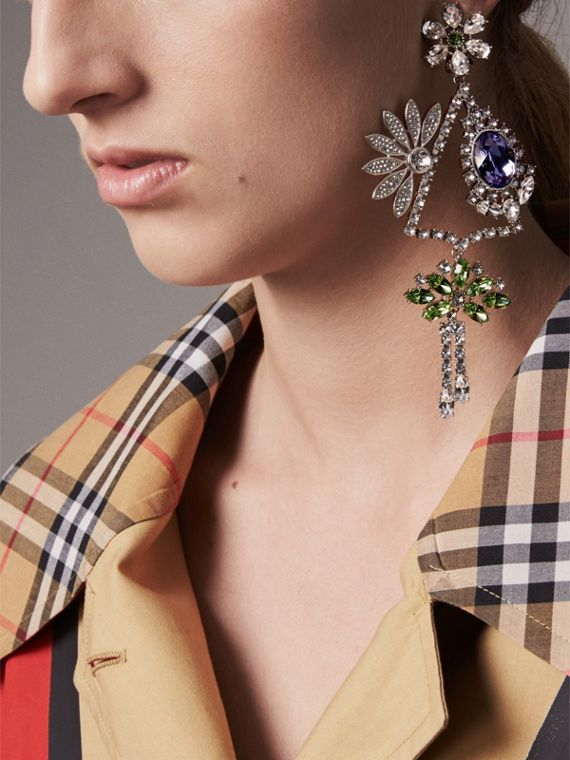 Crystal Daisy Chandelier Earring and Stud Set in Peridot Green - Women | Burberry - cell image 2