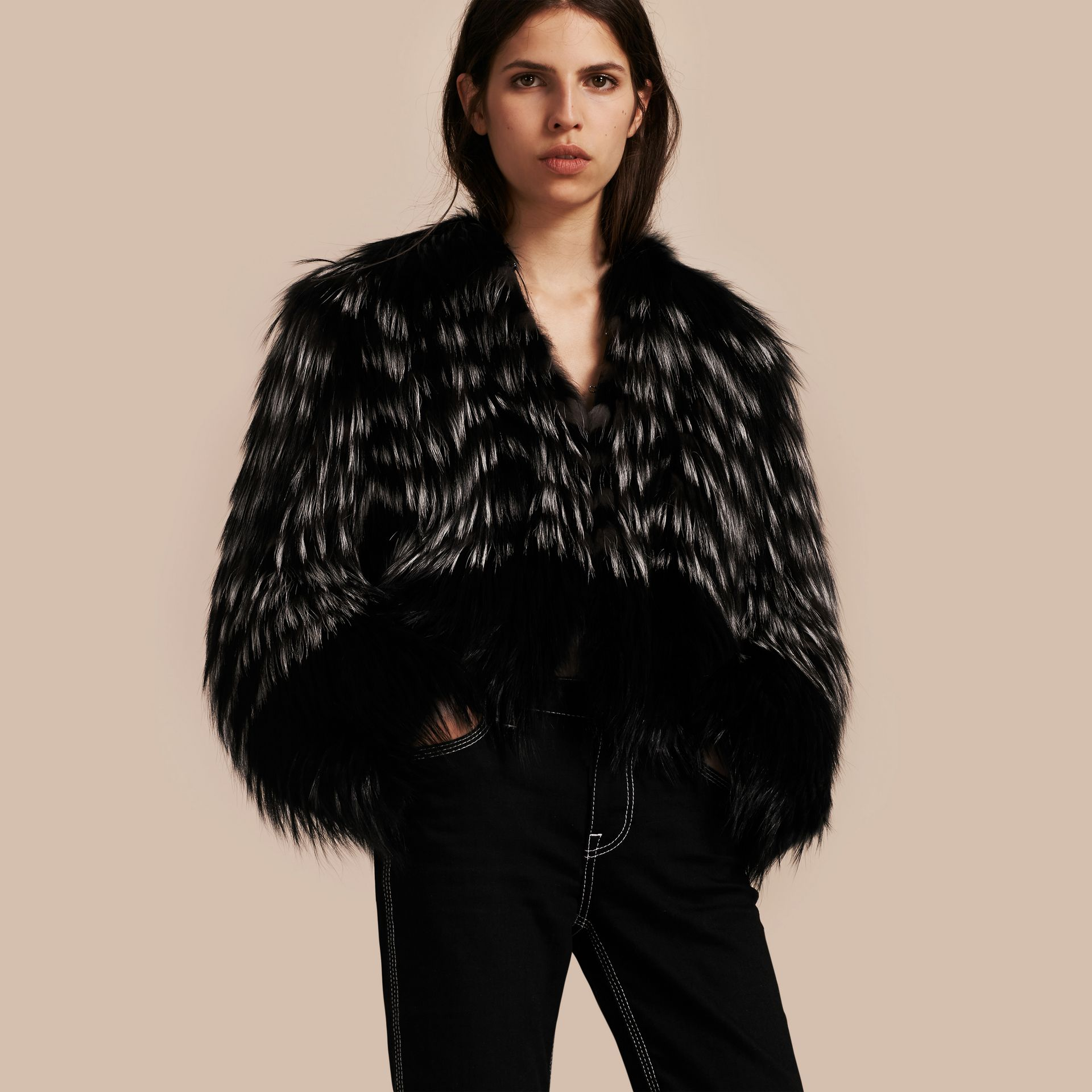 Black/white Chevron Stripe Fox Fur Jacket - gallery image 1