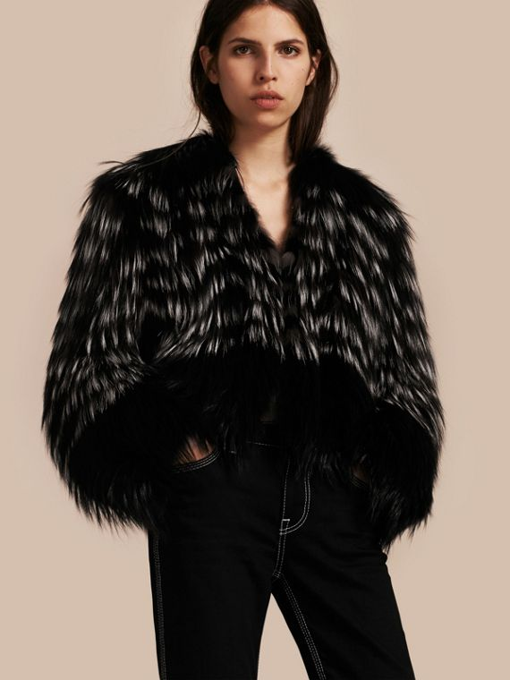 Chevron Stripe Fox Fur Jacket