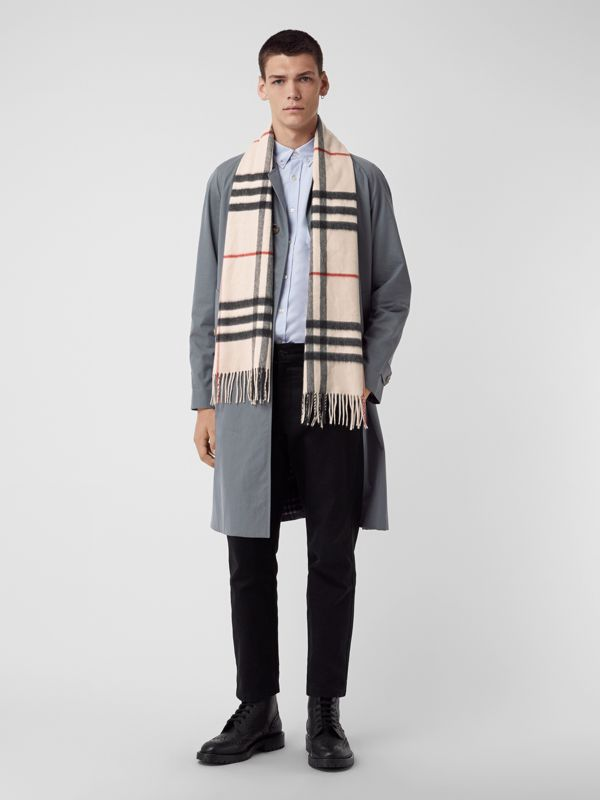 The Classic Cashmere Scarf in Check in White | Burberry Australia - cell image 3