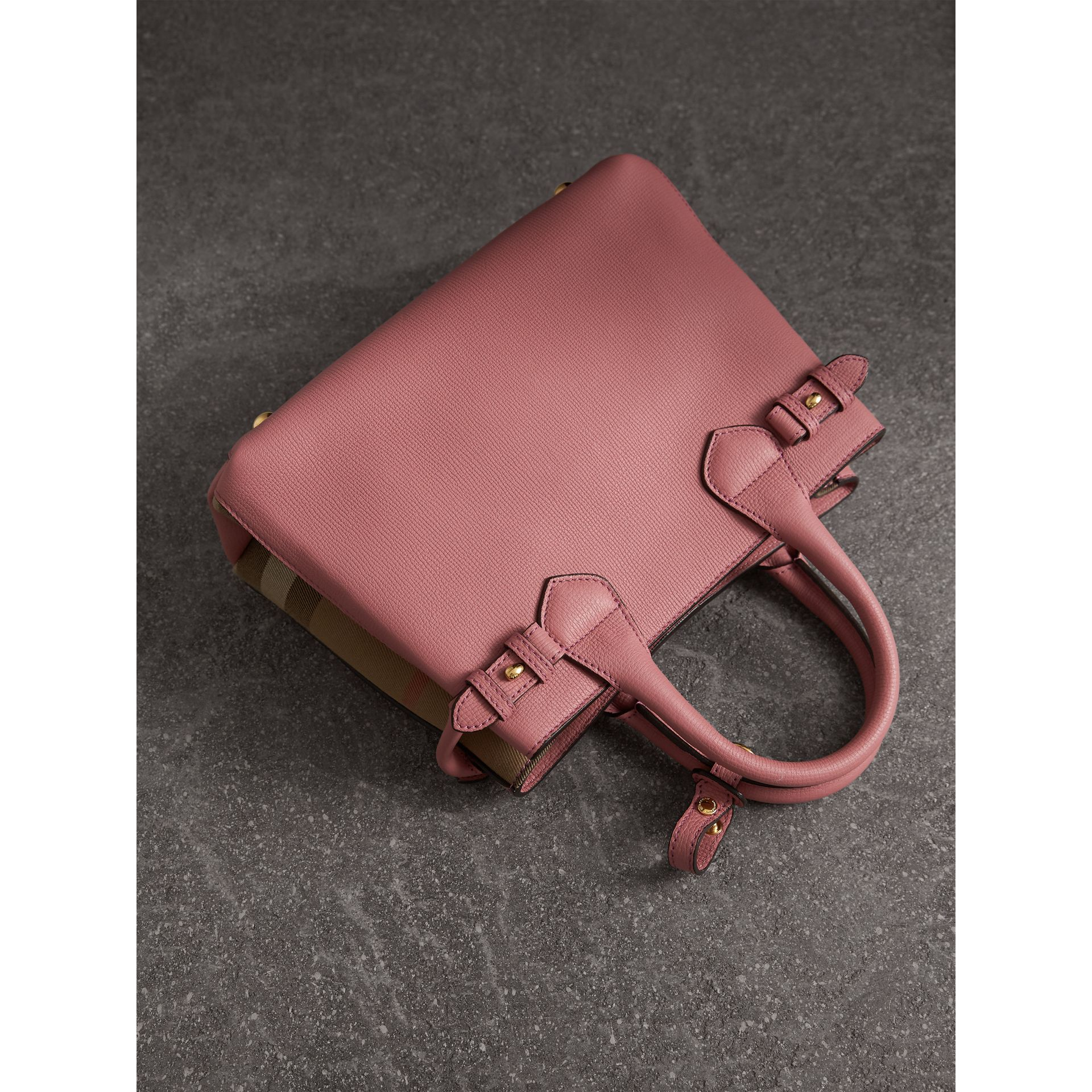 The Small Banner in Leather and House Check in Mauve Pink - Women | Burberry United Kingdom - gallery image 4