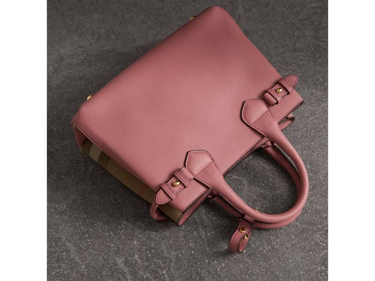 The Small Banner in Leather and House Check in Mauve Pink - Women | Burberry - cell image 4