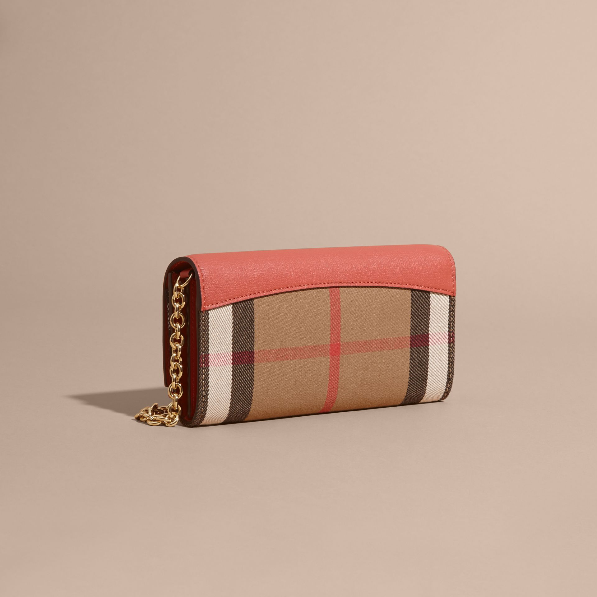 House Check and Leather Wallet with Chain in Cinnamon Red - Women | Burberry Australia - gallery image 3