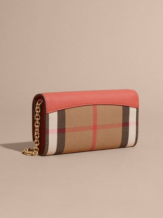 House Check and Leather Wallet with Chain in Cinnamon Red - Women | Burberry - cell image 2