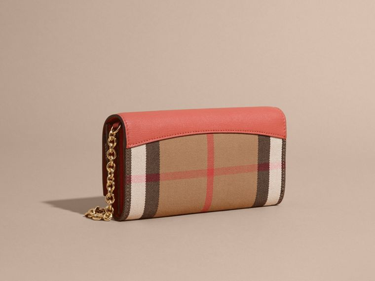 House Check and Leather Wallet with Chain in Cinnamon Red - Women | Burberry - cell image 4