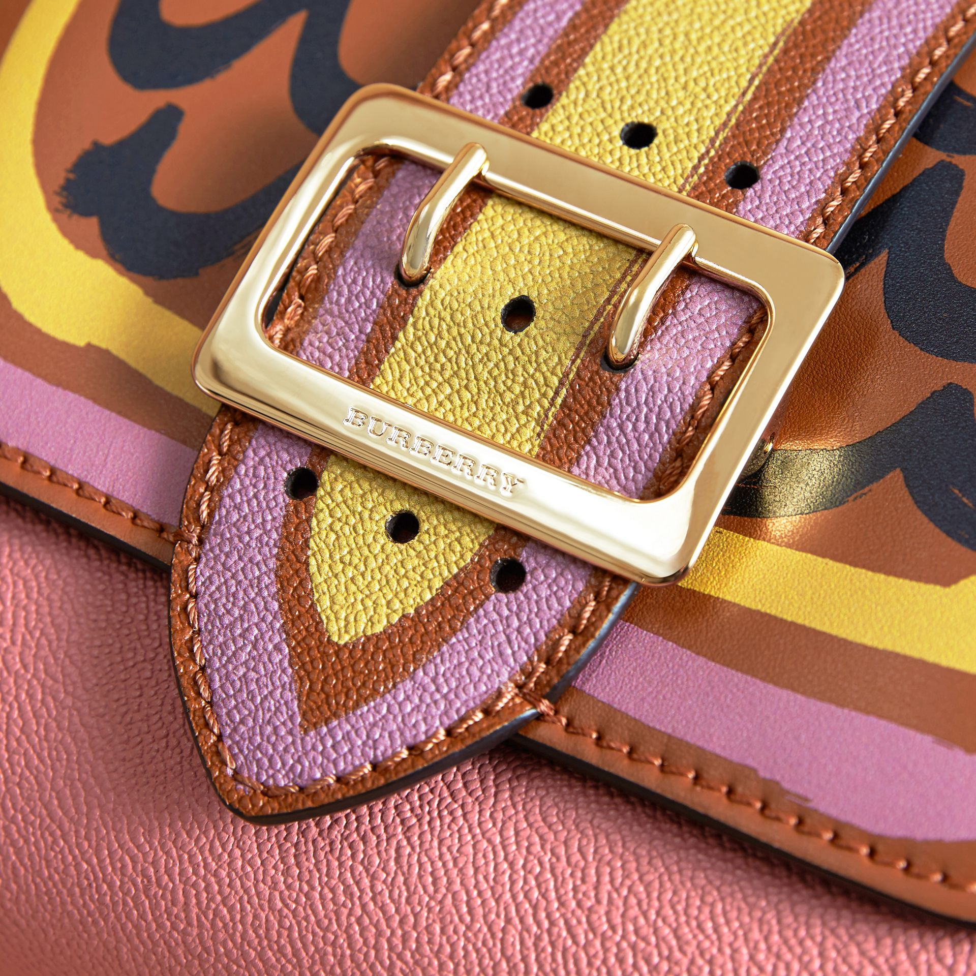 The Buckle Crossbody Bag in Trompe L'oeil Leather in Dusty Pink/bright Toffee - gallery image 2