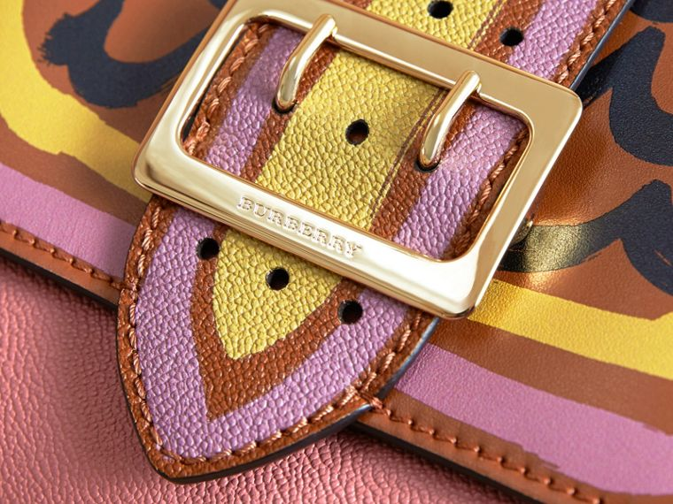The Buckle Crossbody Bag in Trompe L'oeil Leather in Dusty Pink/bright Toffee - cell image 1