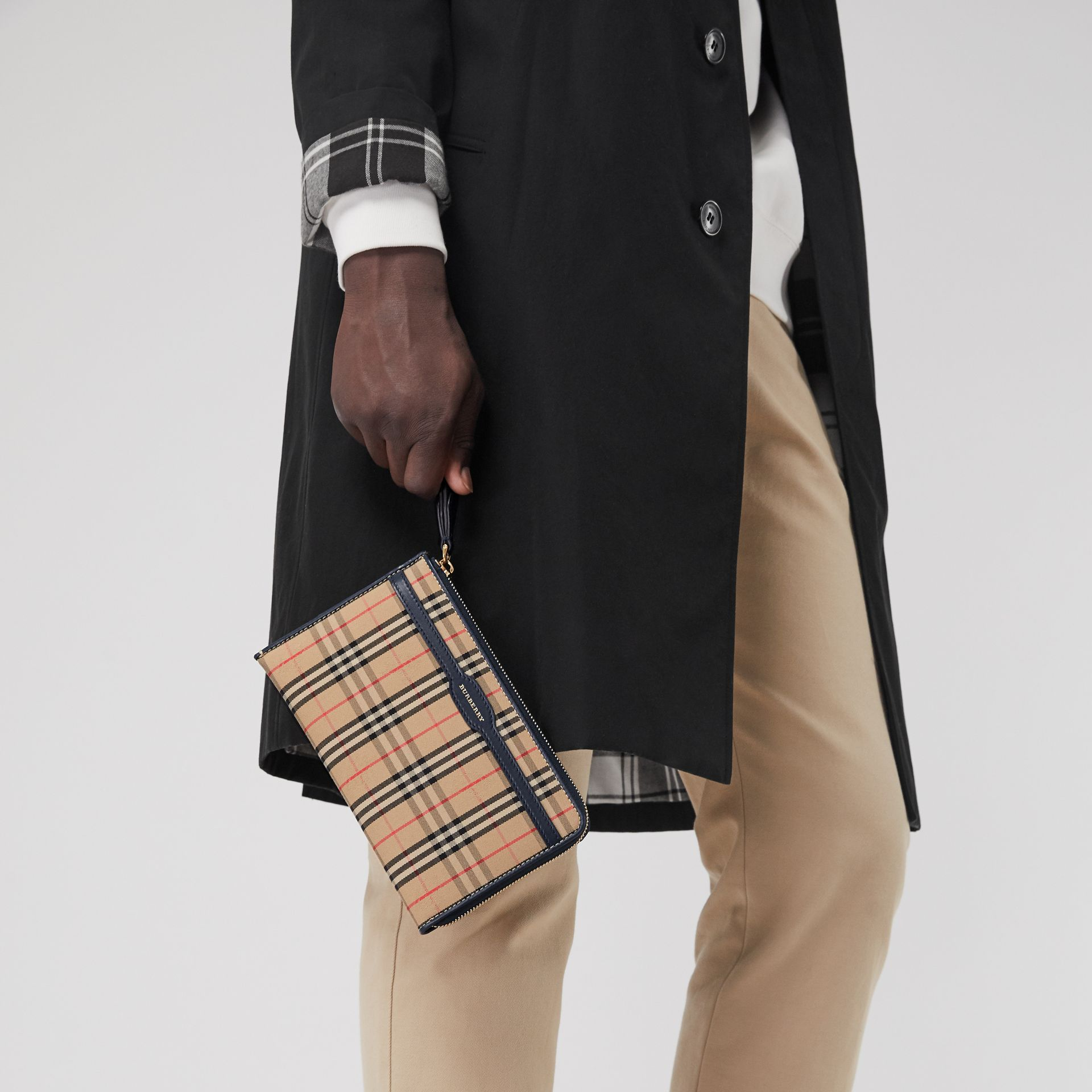 1983 Check and Leather Travel Wallet in Ink Blue - Men | Burberry Hong Kong - gallery image 3