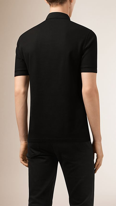 Black Double-Weave Piqué Cotton Polo Shirt - Image 2