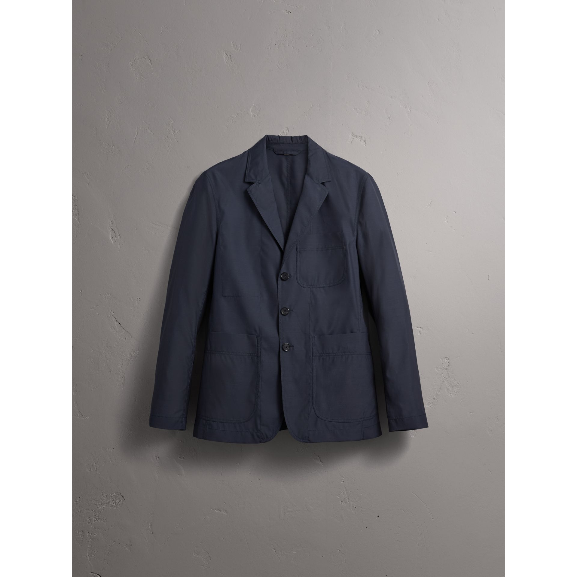 Silk Wool Workwear Blazer in Navy - Men | Burberry United Kingdom - gallery image 4