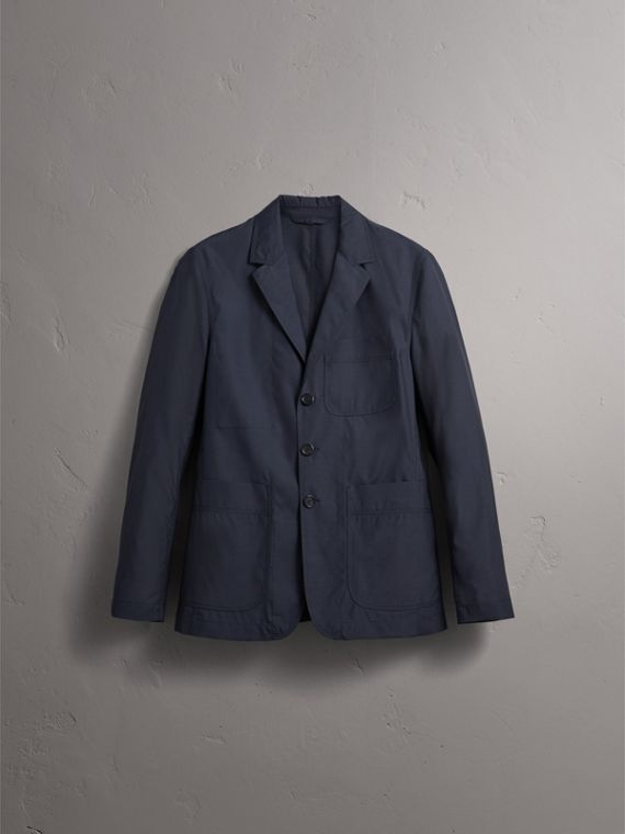 Silk Wool Workwear Blazer in Navy - Men | Burberry United Kingdom - cell image 3
