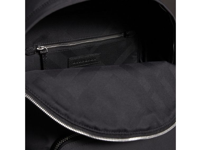 Leather Trim Technical Backpack in Black - Men | Burberry - cell image 4