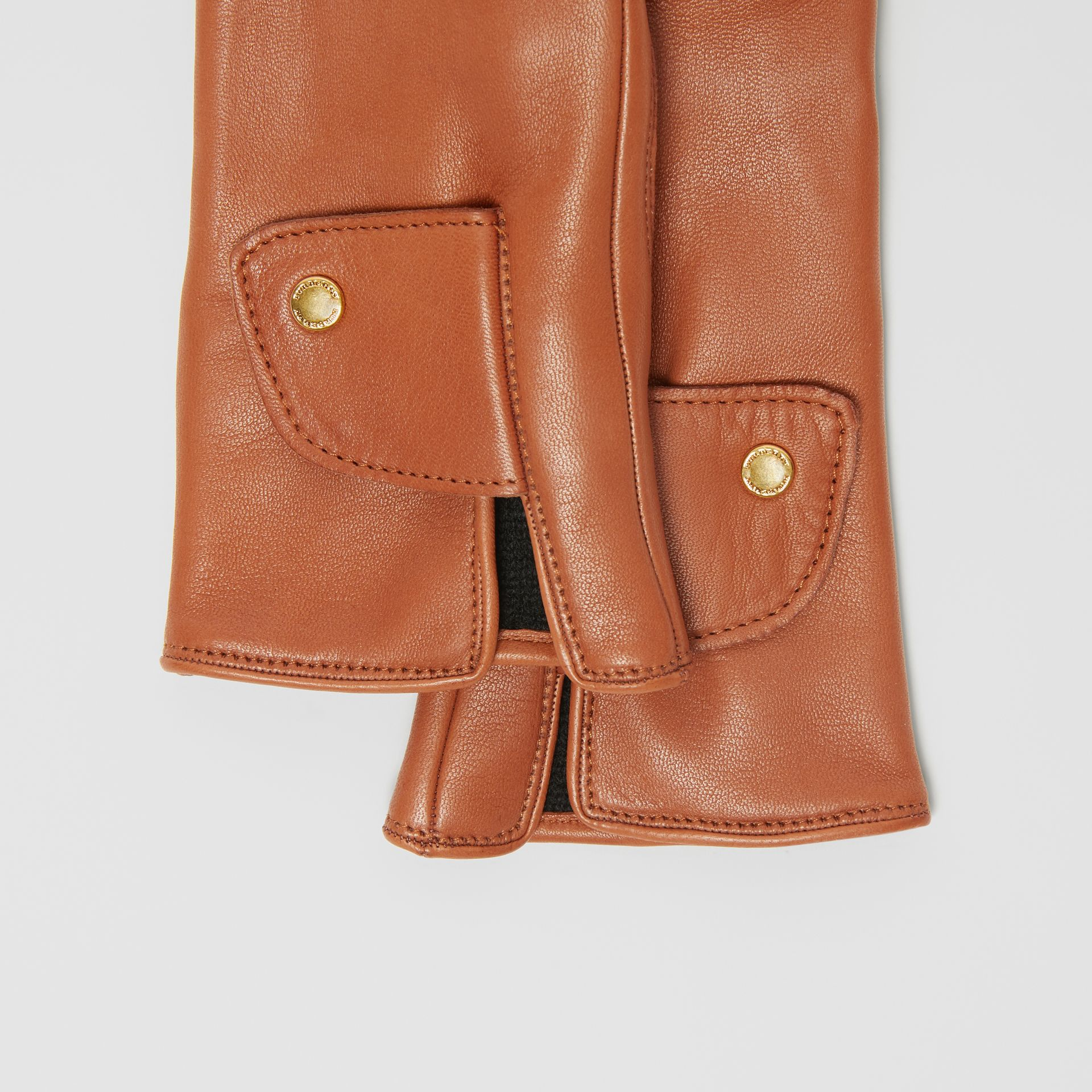 Cashmere-lined Lambskin Gloves in Tan | Burberry - gallery image 1