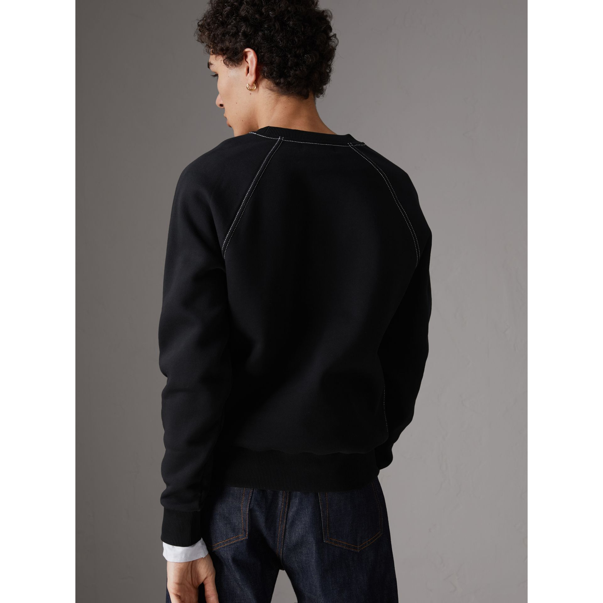 Embroidered Jersey Sweatshirt in Black - Men | Burberry - gallery image 2