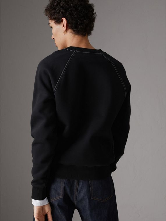 Embroidered Jersey Sweatshirt in Black - Men | Burberry - cell image 2