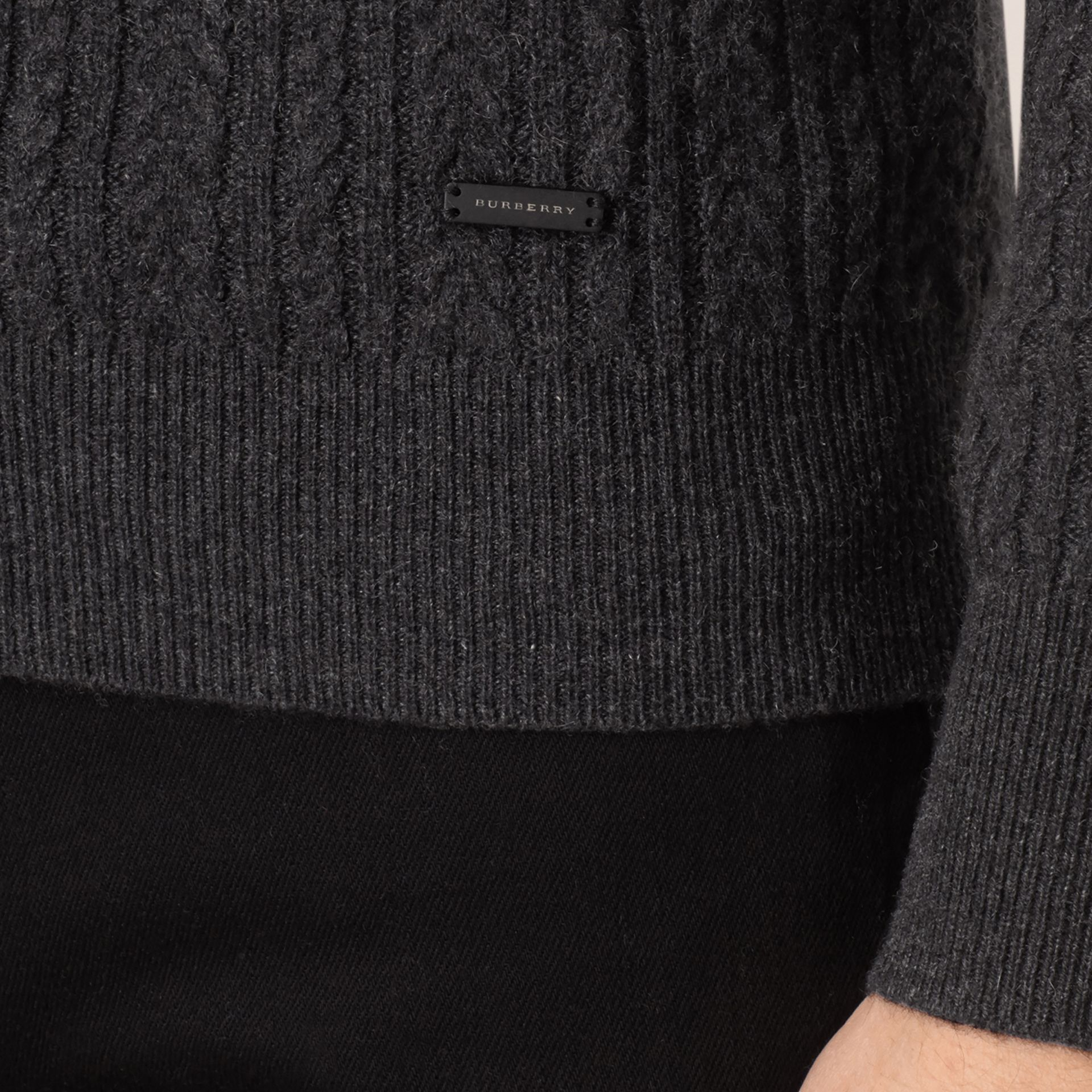 Charcoal Aran Knit Cashmere Sweater Charcoal - gallery image 2