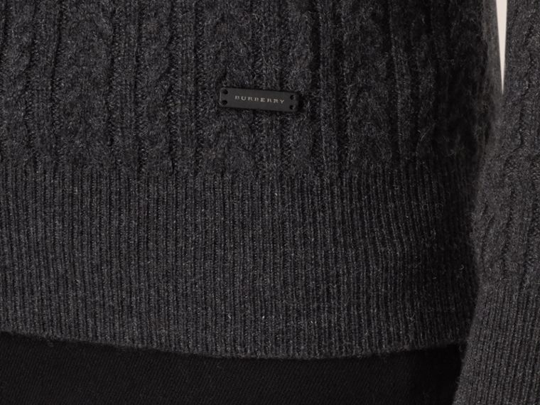 Aran Knit Cashmere Sweater in Charcoal - cell image 1