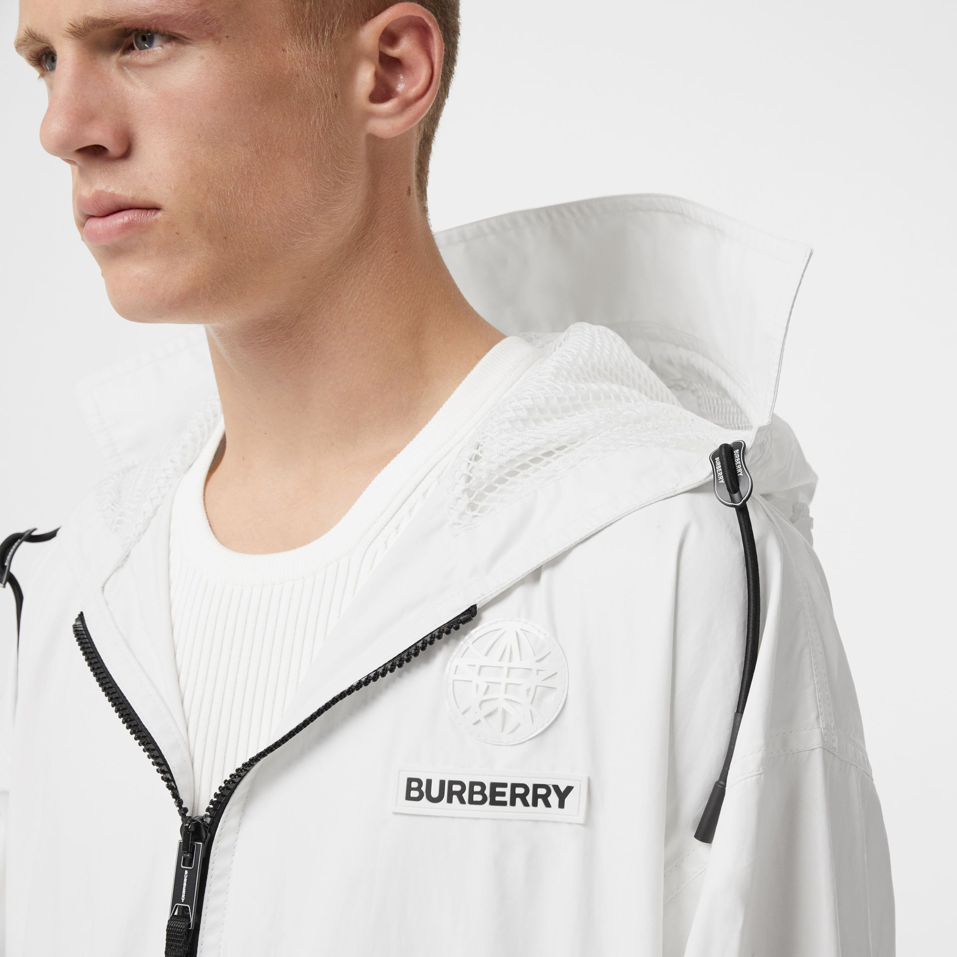 Zip Panel Technical Cotton Parka in Optic White | Burberry - gallery image 9