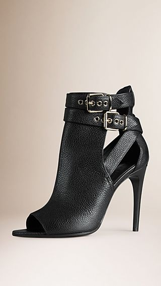 Buckle Detail Leather Peep-toe Ankle Boots