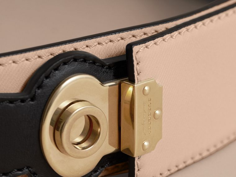 Two-tone Trench Leather Belt in Limestone/ Black - cell image 1