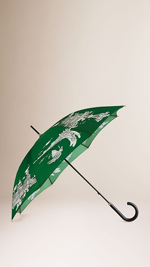 Bright cedar green print Shanghai Landmarks Walking Umbrella - Image 1